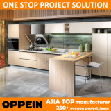 Oppein Contemporary Cherry Melamine T Shape Modular Kitchen Cabinets (OP15-053)