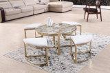Moldura de aço inoxidável escovada + Mesa de mármore Mesa de café