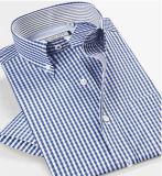 Camicia convenzionale 100% del manicotto del Mens blu del cotone breve