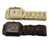 Relógios de pulso de madeira do ébano original do relógio do OEM para o homem (caso quadrado)