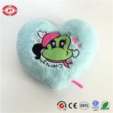 Cuscino farcito blu di figura del cuore ricamato rana dei biglietti di S. Valentino