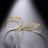 Reales Goldüberzogenes Kupfer-Form-Frauzircon-Palmen-Armband R1069