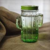 Милый опарник каменщика стеклянной бутылки формы кактуса с конструкцией личности