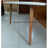 白いメラミン円形の端が付いている上の固体足のコーヒーテーブル