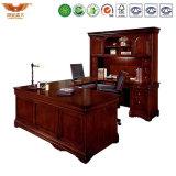 Hölzerner vielseitiger Form-Luxuxcomputer gebogener Schreibtisch der leitenden Stellung-U mit seitlichem Tisch-Bücherschrank (HY-U01)