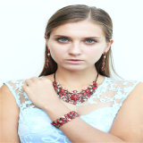 Nouvel élément Red Resin Fashion Jewellery Set Collier Stretch Bracelets