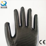 13 gants protecteurs de travail de travail de sûreté enduits par Natrile de piste de zèbre de mesure (N6026)