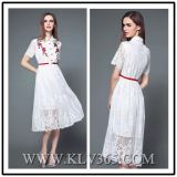 Платье партии шнурка конструкции способа лета весны вышитое женщинами длиннее