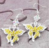 Amarillo de la mariposa de la moda de Rhinestones aretes de aleación de elementos de la moda Diamond Earrings Crystal Earrings (PE-049)