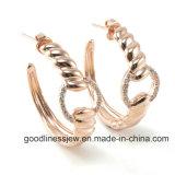 좋은 품질 은 보석 숙녀를 위한 E6122 백색 돌 조정 귀걸이