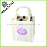 店(HC0006)のためのロゴによって印刷される非編まれたワイン・ボトル袋