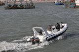 Fibre de verre de soldat de marine de Liya 24.6FT pêchant le bateau gonflable de coque rigide
