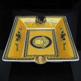 Portacenere di ceramica del sigaro di Cohiba dell'alto di Quanlity reticolo giallo del merletto (ES-EB-088)