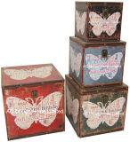 S/4 훈장 앙티크 포도 수확 사랑 디자인 정연한 인쇄 PU Leather/MDF 나무로 되는 저장 트렁크 상자