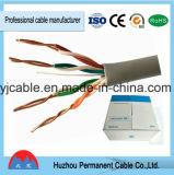 Il calcolatore lega il cavo con un cavo di lan di categoria 5 UTP Cat5e