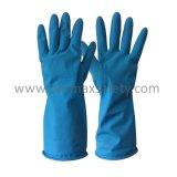 Синий домашних хозяйств резиновые перчатки брюхо с насечками без проскальзывания