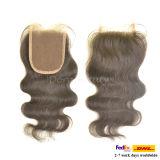 Chiusura naturale del merletto del commercio all'ingrosso dei capelli umani dei capelli ricci malesi del Virgin