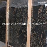 Azulejo de mármol negro italiano de Portoro de las losas naturales