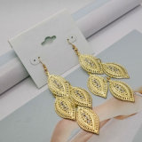 Crystal Gold-Color Hollow Out Long Leaf Tassel Dangle Drop Earrings