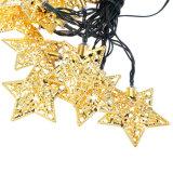 blanc actionné solaire de lampe de décoration de maison de noce de Noël de quirlandes électriques de lumière de chaîne de caractères d'étoile en métal 20LED de 5m, blanc chaud