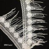 lacet cranté de Venise de crème de polyester de 15cm rétro de garniture blanche de lacet avec les longs beaux glands Hmhb1185