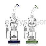 Neuer doppelter Recycler-Bong Glaswasser-Rohr-Glas (ES-GB-036)