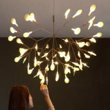 Russo acrílico grande arte vaga-lume lustre de iluminação LED