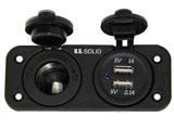 바다 급료 이중 USB 소켓과 담배 점화기 전원 소켓 DC 12V