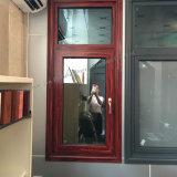 Houten-kijkend de Openslaand ramen van het Aluminium met Dubbel Aangemaakt Glas