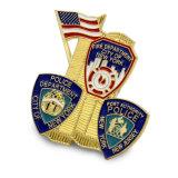Diseño especial de placa de policía de metal esmaltado de latón con el pasador de seguridad