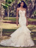 Русалки устраивающих Gowns Vestidode Strapless Appliqued рельефная кружево свадебные платья Z9029