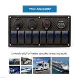 4 Gang/6 Gang/8 Gang Circuit LED Because Marine Waterproof 5 Pine Boat Rocker Switch Panel with Fuses Dual UNIVERSAL SYSTEM BUS Slot LED Light + Power Socket Breaker Voltmeter for