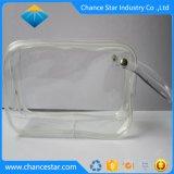 La escuadra personalizada PVC transparente de la bolsa de cremallera con tirador