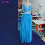 実質のサンプル軽くて柔らかいカスタム長く青い新婦付添人の服