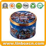 Caja de embalaje de regalo de grado alimentario ronda personalizados latas de galletas de Navidad