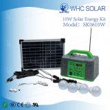 Saída de CC Sistema de Iluminação Doméstica Solar 10W com carregamento de Telefone
