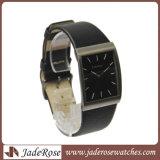 新しい方法正方形の本革の水晶ステンレス鋼の腕時計