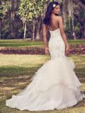 인어 신부 드레스 Vestidode 끈이 없는 아플리케를 한 구슬로 만드는 레이스 결혼 예복 Z9029
