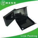 Schwarzer Papierpappmagnet-Schliessen-Geschenk-Luxuxkasten für das Schuh-Verpacken