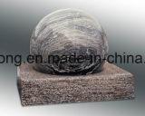 Fontana nera Polished della sfera della sfera di rotolamento del granito, fontana di pietra del globo con la base