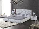 حديثة بيضاء سرير إطار صور شسترفيلد جلد سرير