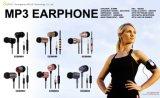 黒いマイクロフォンおよび音量調整器とのエムピー・スリーイヤホーンEarbuds