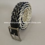 Black and White Texture Elastic Braided Wibbing Belt with pin Buckle