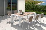 Liga de alumínio mesa de jantar e cadeira com acabamento em madeira teca