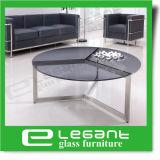 Aço inoxidável longa mesa de café com vidro temperado