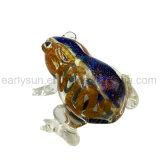 Tubo di vetro della rana del rospo del corpo del Brown della banda blu con i piedini dell'annullare quattro (ES-HP-141)