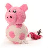 ペットおもちゃのプラシ天のロープが付いている柔らかい漫画のブタ犬のおもちゃ