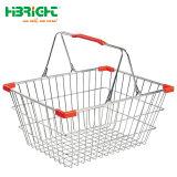 Supermercado doble empuñadura Alambre Cesta de compra