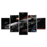 A pintura impressa HD moderna da sala de visitas da lona retrata o frame estrelado do poster da decoração da HOME modular da arte da parede de Star Wars do céu de 5 painéis