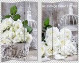결혼식 장식 디자인 거실 화포와 나무로 되는 인쇄 장식적인 접히는 스크린 룸 분배자 x 3 위원회